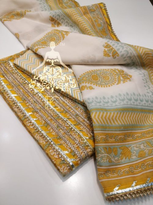 Embroidered Cotton Suit with Gota Work