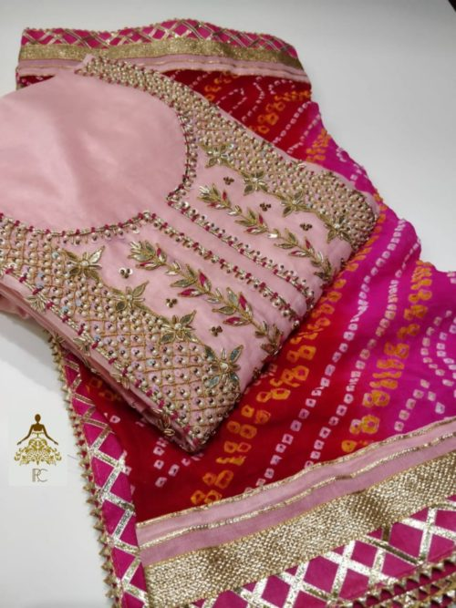 Embroidered Chanderi Suit with Gota Patti & Pearl Work