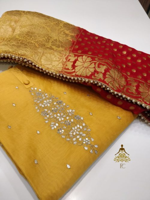 Full Embroidered Chanderi Suit with Gota Patti Work