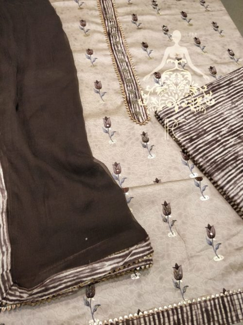 Embroidered Glace Cotton Suit with Neck Work, Beads & Gota Detailing