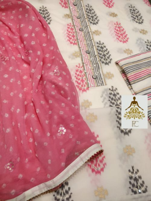 Embroidered Cotton Shirt with Neck Work & Gota Detailing