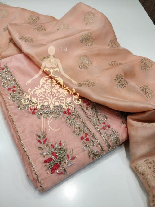 Embroidered Chanderi Suit with Kundan & Zardozi Work