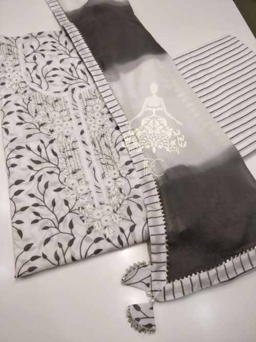 Embroidered Cotton Suit with Gota Detailing