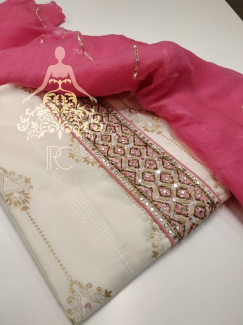 Printed Cotton Suit with Neck Work and Gota Detailing