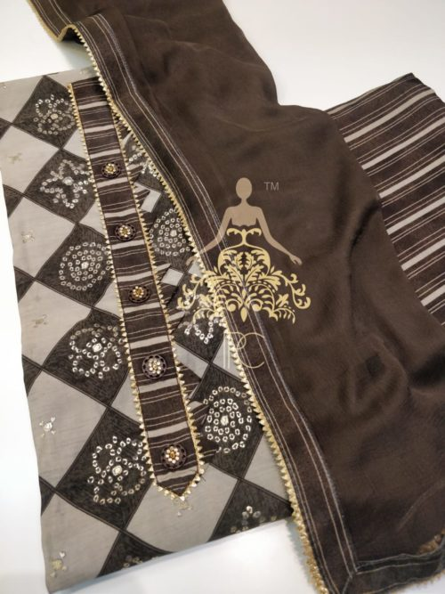 Printed Modal Silk Suit with Gota Detailing