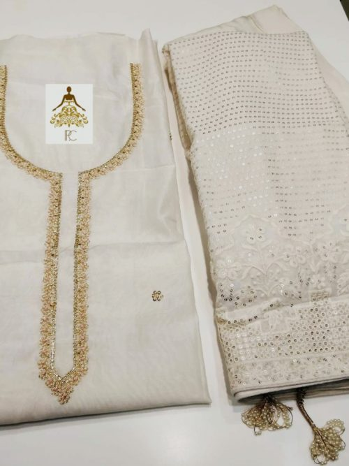 Embroidered Chanderi Suit with Sequins & Pearl Work