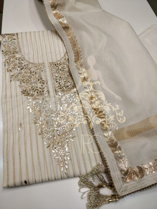 Embroidered Cotton Suit with Gota Patti and Mirror Work