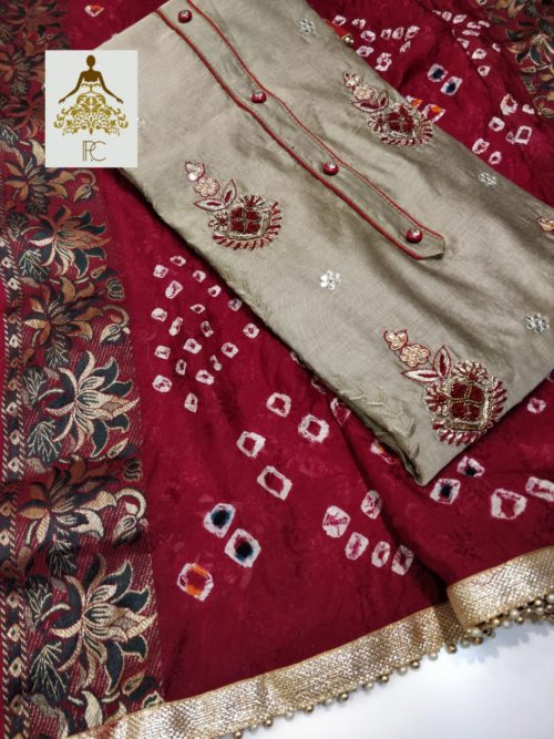 Full Embroidered Chanderi Suit with Kundan Work