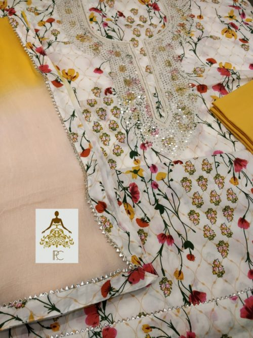 Embroidered Cotton Suit with Neck Work and Gota Detailing