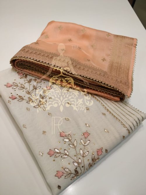 Full Embroidered Chanderi Suit with Gota Work