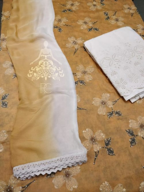 Printed Cotton Suit with Knot Work