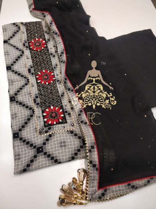 Cotton Embroidered Suit with Gota Patti Work
