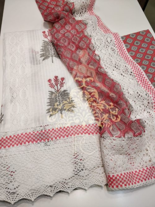 Full Embroidered Cotton Suit with Chikan Work