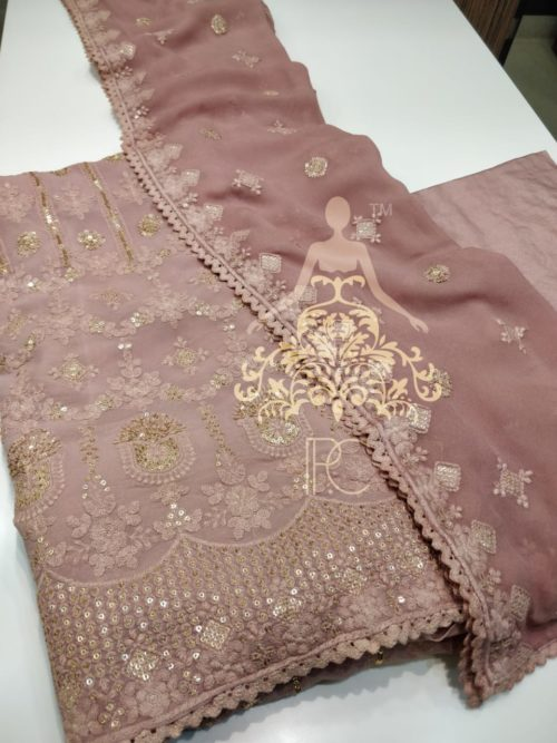 Embroidered Georgette Suit with Lucknowi & Sequins Work
