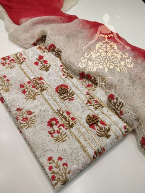 Cotton Printed Suit with Gota Detailing