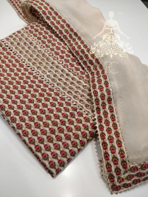 Printed Cotton Shirt with Neck Work