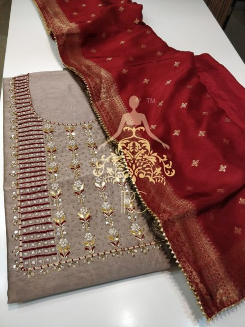 Embroidered Chanderi Suit with Gota Patti, Pearl & Sequins Work