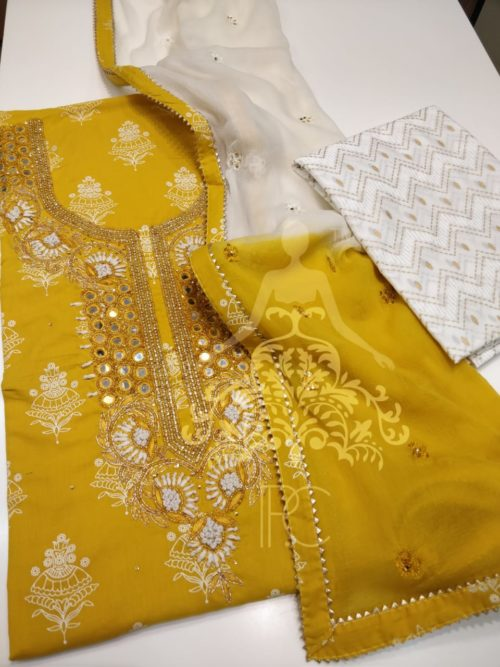 Embroidered Cotton Shirt with Mirror Work and Gota Detailing