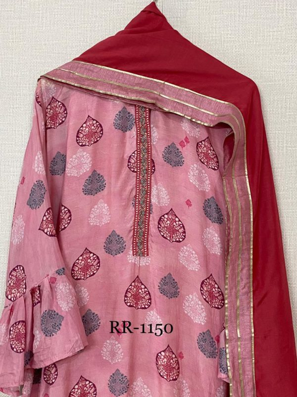 Pure Muslin With Resham Embroidery Suit