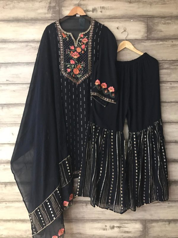 Pure Georgette With Work Sharara Suit