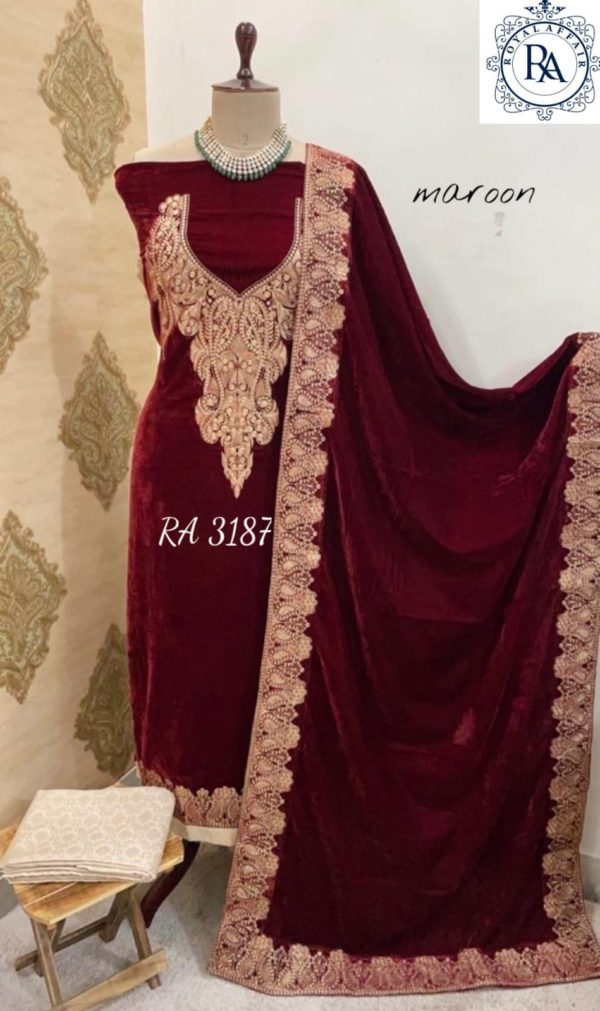 Pure velvet With Embroidery Suit