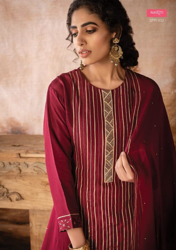 Russian Silk With Embroidery & Handwork Suit