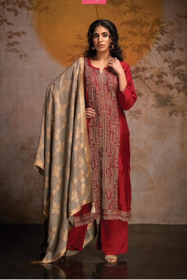 Russian Silk With Embroidery & Swarovski Work Suit