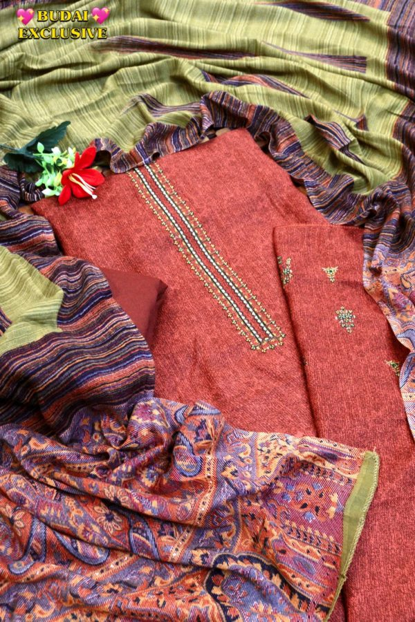 Pure Wool Pashmina Print With Embroidery Suit